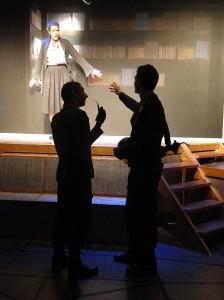 Dana Kovar, Giles Davies and Chris Jackson in Jobsite's Fahrenheit 451. (Photo by Brian Smallheer.)