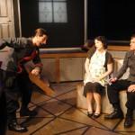 Giles Davies, Nicole Jeannine Smith and Chris Jackson in Jobsite's Fahrenheit 451. (Photo by Brian Smallheer.)