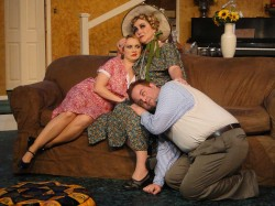 (L-R) Caitlin Eason, Caroline Jett and Spencer Meyters in Jobsite's Hay Fever. (Photo by Brian Smallheer.)
