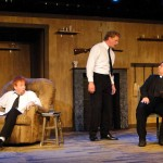 (L-R) David M. Jenkins, Matt Lunsford and Brian Shea in Jobsite's The Lonesome West. (Photo by Brian Smallheer.)