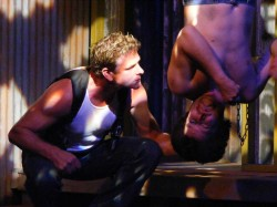 (L-R) Matt Lunsford and Chris Holcom in Jobsite's The Lieutenant of Inishmore. (Photo by Brian Smallheer.)