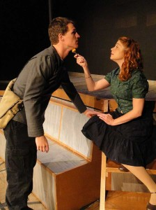 Chris Jackson and Katie Castonguay in Jobsite's Fahrenheit 451. (Photo by Brian Smallheer.)