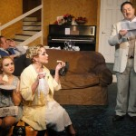 (L-R) Spencer Meyers, Caitlin Eason, Caroline Jett and Owen Robertson in Jobsite's Hay Fever. (Photo by Brian Smallheer.)