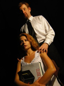 David Jenkins and Katrina Stevenson in Jobsite's Closetland. (Photo by Brian Smallheer.)