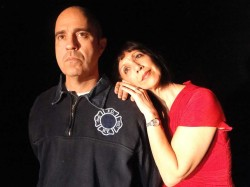 Paul Potenza and Roz Potenza in Jobsite's The Guys. (Photo by Brian Smallheer.)