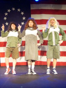 (L-R) Jason Evans, David M. Jenkins and Shawn Paonessa in Jobsite's The Complete History of America (abridged). (Photo by Brian Smallheer.)