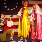 (L-R) David M. Jenkins, Shawn Paonessa and Jason Evans in Jobsite's The Complete History of America (abridged). (Photo by Brian Smallheer.)