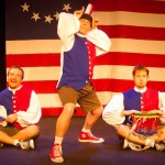 (L-R) Shawn Paonessa, Jason Evans and David M. Jenkins in Jobsite's The Complete History of America (abridged). (Photo by Brian Smallheer.)