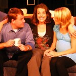 (L-R) David M. Jenkins, Jessica Rothert and Alison Burns in Jobsite's And Baby Make Seven. (Photo by Brian Smallheer.)