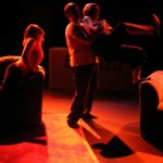 (L-R) Jessica Rothert, David M. Jenkins and Alison Burns in Jobsite's And Baby Make Seven. (Photo by Brian Smallheer.)