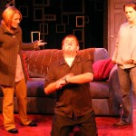 (L-R) Alison Burns, David M. Jenkins and Jessica Rothert in Jobsite's And Baby Make Seven. (Photo by Brian Smallheer.)