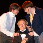 (L-R) Chris Holcom, Jason Evans and David M. Jenkins in Jobsite's Bloody Poetry. (Photo by Brian Smallheer.)
