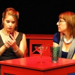 (L-R) Katrina Stevenson and Meg Heimstead in Jobsite's Dead Man's Cell Phone. (Photo by Brian Smallheer.)