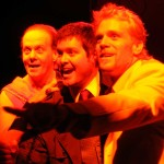(L-R) Jason Evans, Chris Holcom and Steve Garland in Jobsite's The History of the Devil. (Photo by Brian Smallheer.)