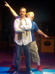 (L-R) Shawn Paonessa and David M. Jenkins in Jobsite's The March of the Kitefliers. (Photo by Brian Smallheer.)