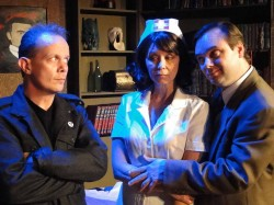 (L-R) Jason Evans, Elizabeth Fendrick and Brian Shea in Jobsite's Mindgame. (Photo by Brian Smallheer.)