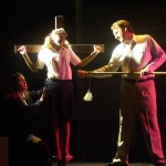 (L-R) Jaime Giangrande-Holcom, Molly Jacobson and Charles Wilcox in Jobsite's The Pillowman.