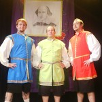 (L-R) David M. Jenkins, Jason Evans and Shawn Paonessa in Jobsite's 2001-05 touring production of The Complete Works of William Shakespeare (abridged).