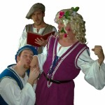 (clock from top) Shawn Paonessa, Jason Evans and David M. Jenkins in Jobsite's 2001-05 touring production of The Complete Works of William Shakespeare (abridged).