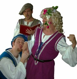 (clock from top) (L-R) Shawn Paonessa, Jason Evans and David M. Jenkins in Jobsite's The Complete Works of William Shakespeare (abridged).
