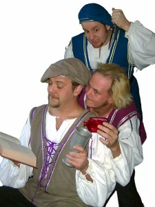 (clock. from top) David M. Jenkins, Jason Evans and Shawn Paonessa in Jobsite's The Complete Works of William Shakespeare (abridged).