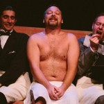 Giles Davies, Shawn Paonessa and David M. Jenkins in Jobsite's The Hound of the Baskervilles. (Photo by Crawford Long.)