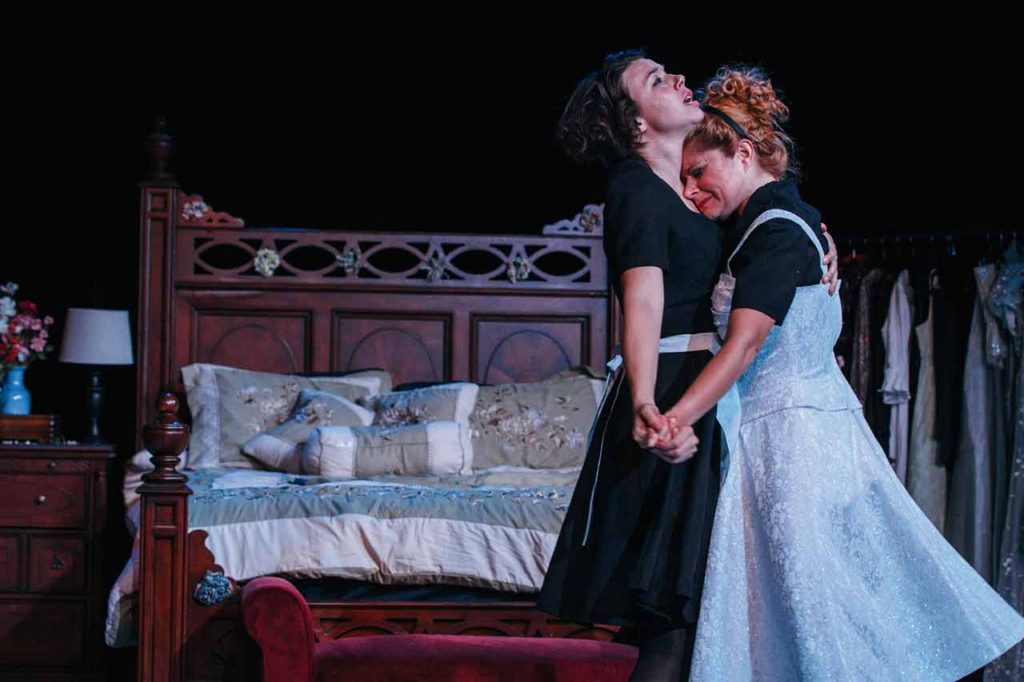 "Tension crackles between Georgia Mallory Guy as Solange and Katrina Stevenson as Claire in Jobsite's production of ""The Maids"" at the Straz Center. CRAWFORD LONG"