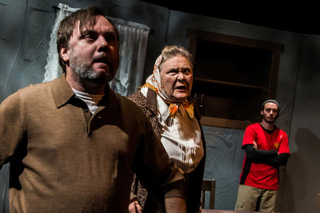 (L-R) Brian Shea, Diana Rogers and Brandon Mauro in Jobsite's A Skull in Connemara. (Photo by Ryan Finzelber.)