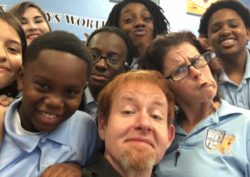 David M. Jenkins and Lauren Field attend the As You Like It follow-up at St. Peter Claver School.