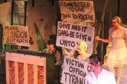 (L-R) Jeremy Douglass, Jennifer Casler, Chris Jackson and Maggie Phillips in Jobsite's The Threepenny Opera. (Photo courtesy Angelina Hill and Sickles TV Production.)