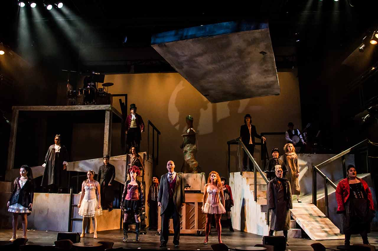 The Ensemble of in Jobsite's The Threepenny Opera. (Photo courtesy Ryan Finzelber.)