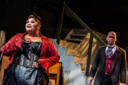 Fo'i Meleah and Jonathan Harrison in Jobsite's The Threepenny Opera. (Photo courtesy Ryan Finzelber.)