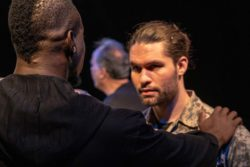 (L-R) Robert Richards Jr. and Joseph Michael-Kenneth in Jobsite's Othello. (Photo by Pritchard Photography.)