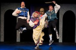 (L-R) Shawn Paonessa, Spencer Meyers and David M. Jenkins in Jobsite's The Complete Works of William Shakespeare (abridged). (Photo by Pritchard Photography.)